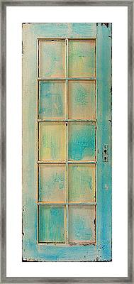Turquoise And Pale Yellow Panel Door Framed Print by Asha Carolyn Young