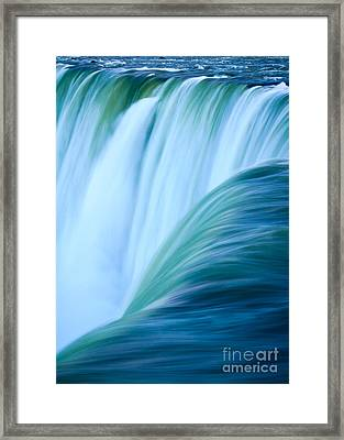 Turquoise Blue Waterfall Framed Print by Peta Thames