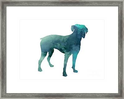 Turquoise Boxer Art Silhouette  Framed Print by Joanna Szmerdt
