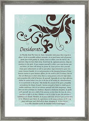 Turquoise Brown Typography Art Desiderata With Flourish Framed Print by Desiderata Gallery