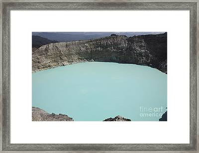Turquoise Crater Lake Of Kelimutu Framed Print by Richard Roscoe