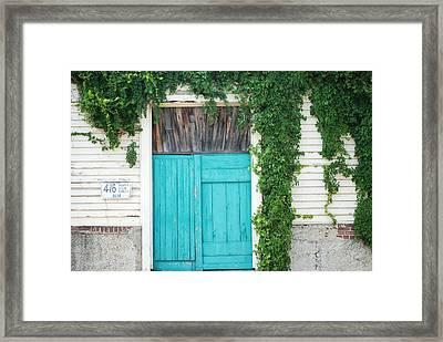 Turquoise Door Framed Print by Pamela Schreckengost