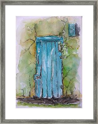 Turquoise Door Framed Print by Stephanie Sodel