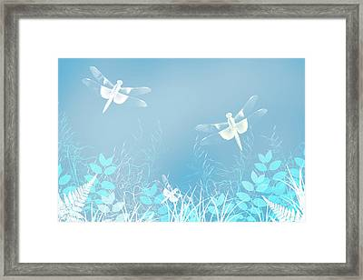Turquoise Dragonfly Art Framed Print by Christina Rollo