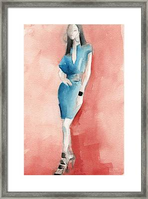 Turquoise Dress Watercolor Fashion Illustration Framed Print by Beverly Brown
