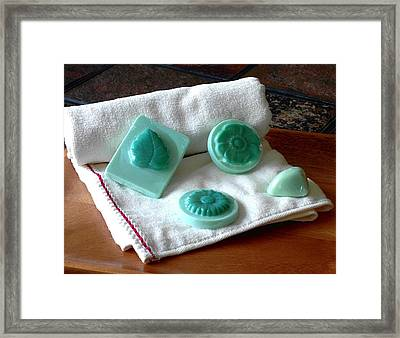 Turquoise Flower And Leaf Soap Framed Print by Anastasiya Malakhova