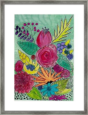 Turquoise Flower Garden Framed Print