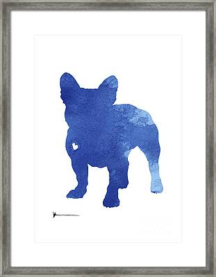 Turquoise French Bulldog Silhouette Framed Print