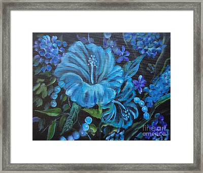 Turquoise Hibiscus Framed Print by Jenny Lee