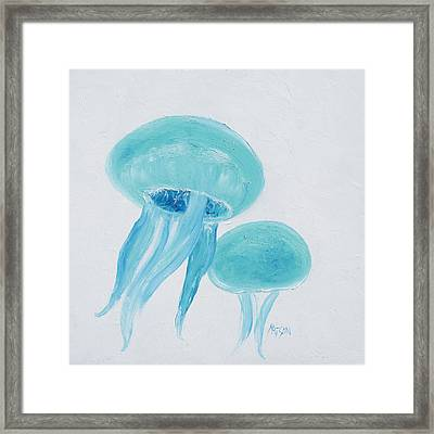 Turquoise Jellyfish Framed Print