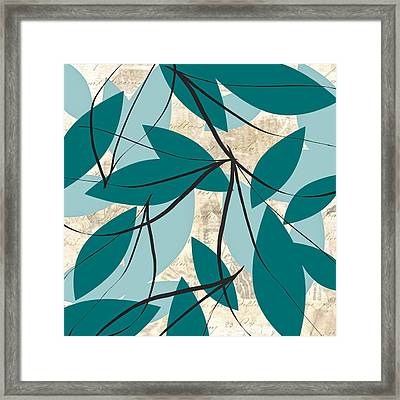 Turquoise Leaves Framed Print