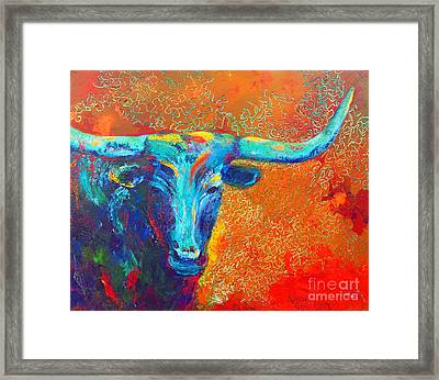 Framed Print featuring the painting Turquoise Longhorn by Karen Kennedy Chatham