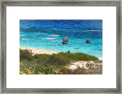Framed Print featuring the photograph Turquoise Ocean And Pink Beach by Verena Matthew