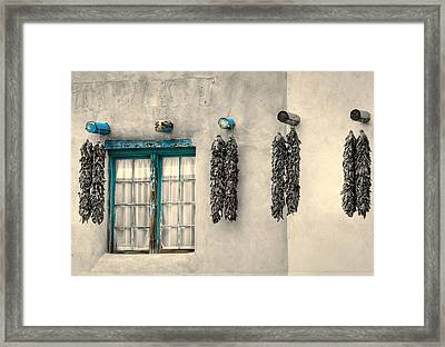 Turquoise Pueblo Traces Framed Print by Stellina Giannitsi