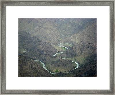 Turquoise River Deep In The Hindu Kush Mountains Framed Print by Jetson Nguyen