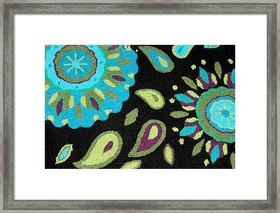 Framed Print featuring the photograph Tapestry Turquoise Rug by Janette Boyd