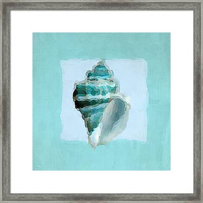 Turquoise Seashells Viii Framed Print by Lourry Legarde