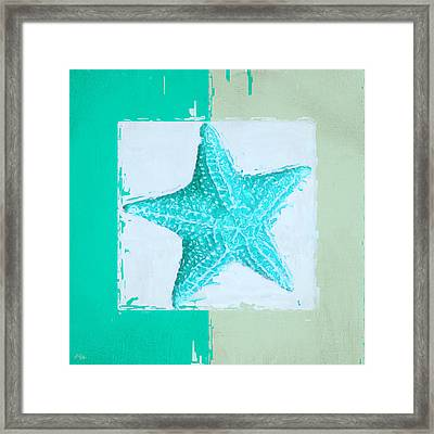 Turquoise Seashells Xi Framed Print by Lourry Legarde