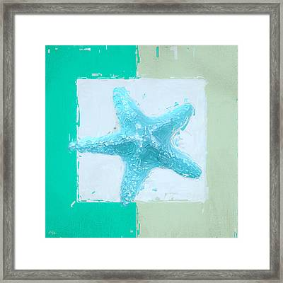 Turquoise Seashells Xiii Framed Print by Lourry Legarde