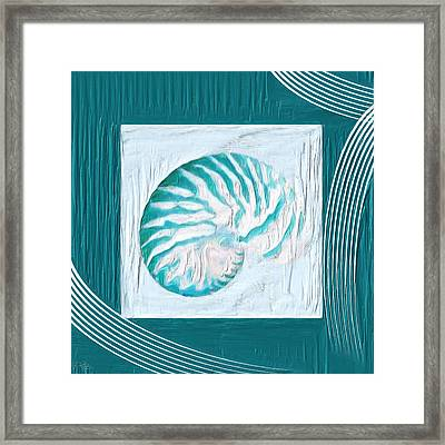 Turquoise Seashells Xxi Framed Print by Lourry Legarde
