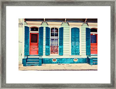 Framed Print featuring the photograph Turquoise Shutters by Sylvia Cook