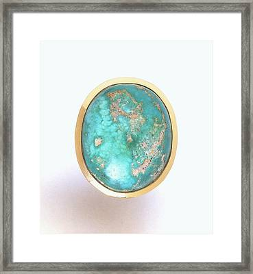 Turquoise Stone Set In Gold Ring Framed Print