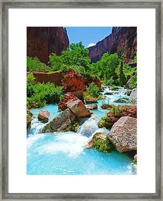 Turquoise Stream Framed Print
