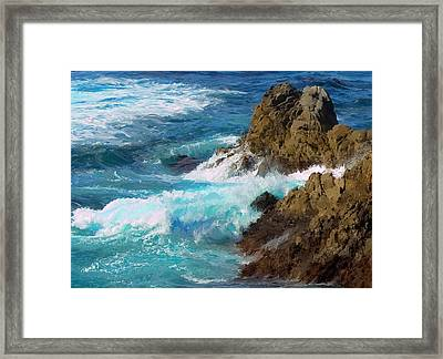 Turquoise Surf II Framed Print by Jim Pavelle