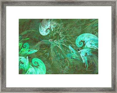 Turquoise Turbulance Framed Print by Minnie W Shuler