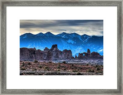 Turret Arch And The La Sals Framed Print