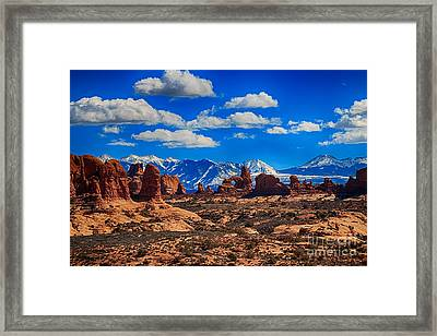 Turret Arch And The Manti La Sal Mountains Framed Print by Scotts Scapes