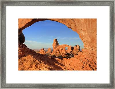 Framed Print featuring the photograph Turret Arch Through North Window by Alan Vance Ley