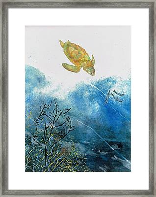 Turtle And Sea Fans Framed Print