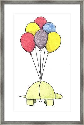Turtle Balloon Framed Print by Christy Beckwith