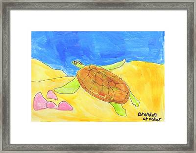 Framed Print featuring the painting Turtle by Artists With Autism Inc