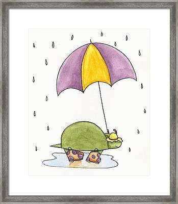 Turtle In The Rain Framed Print by Christy Beckwith