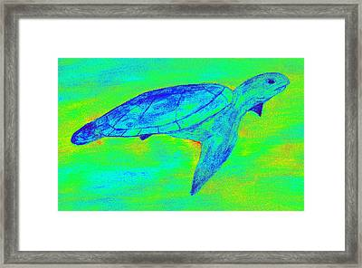 Turtle Life - Digital Ink Stamp Green Framed Print by Brett Smith