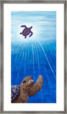 Framed Print featuring the painting Turtle Painting Bomber Triptych 1 by Rebecca Parker