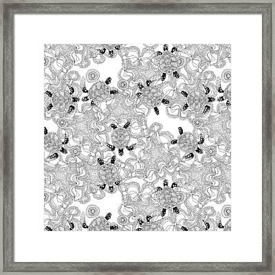 Turtle Reef Black White Framed Print by Sharon Turner