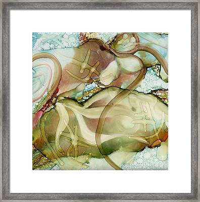 Turtles At Play Framed Print by Carolyn Weir