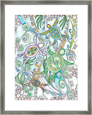 Turtles In The Deep Blue Framed Print by Dalton James