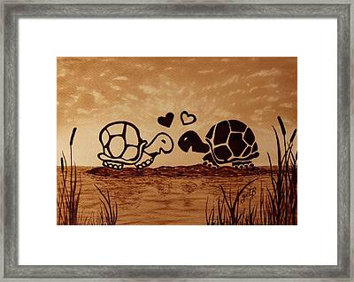 Turtles Love Coffee Painting Framed Print