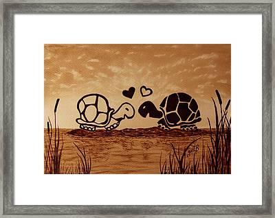 Turtles Love Coffee Painting Framed Print by Georgeta  Blanaru
