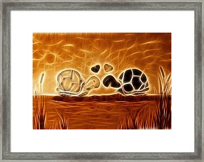 Turtles Love Fractalius Framed Print by Georgeta Blanaru