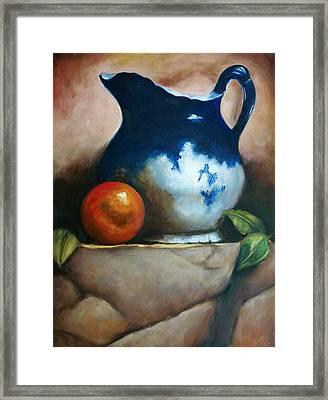 Tuscan Blue Pitcher Still Life Framed Print by Melinda Saminski