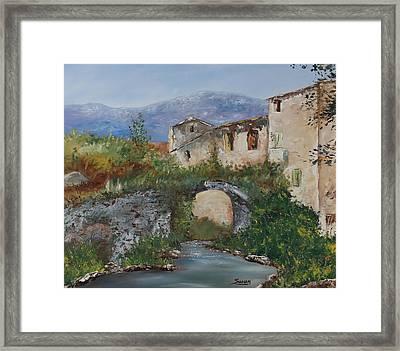 Tuscan Bridge Framed Print by Andrew Sanan
