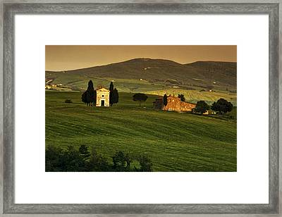 Tuscan Chapel And Farm Framed Print by Andrew Soundarajan