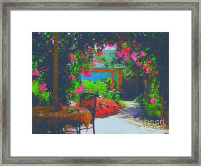 Framed Print featuring the painting Tuscan Courtyard by Tim Gilliland