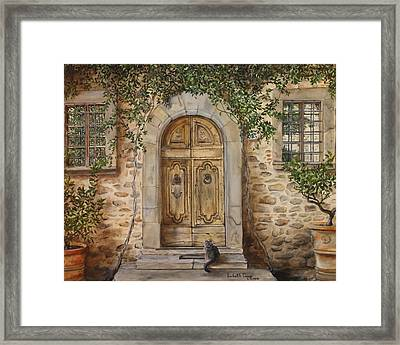 Tuscan Door Framed Print by Lizbeth Gage