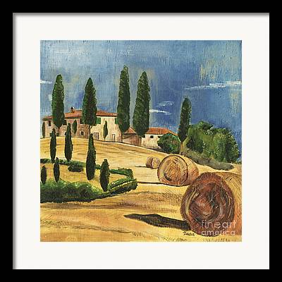 Tuscan Hills Paintings Framed Prints
